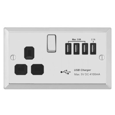 with Quad USB Charger 5.1A Flat Plate Screwless USB Socket Outlet