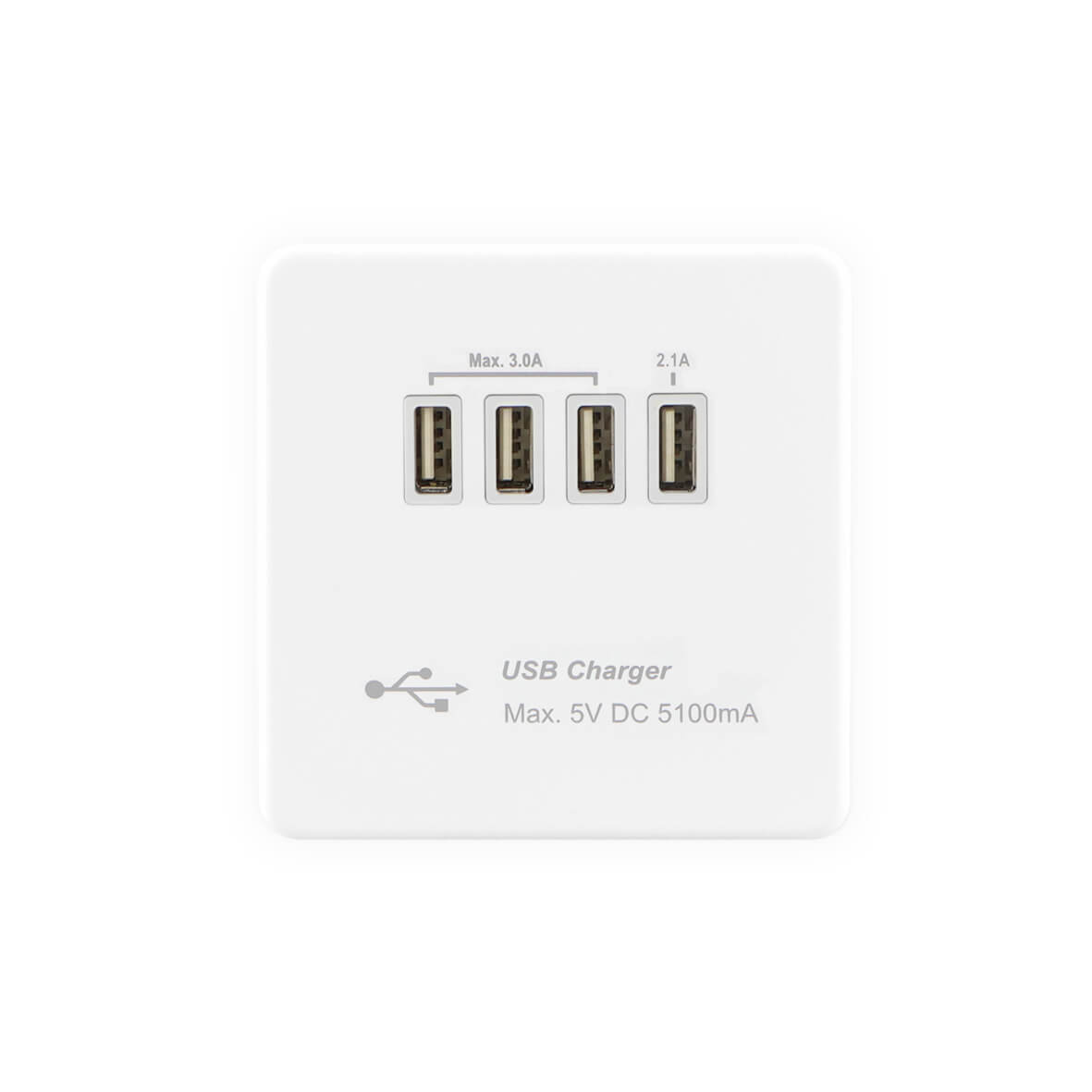 Flat Plate Screwless USB Socket Outlet with Quad USB Charger 5.1A