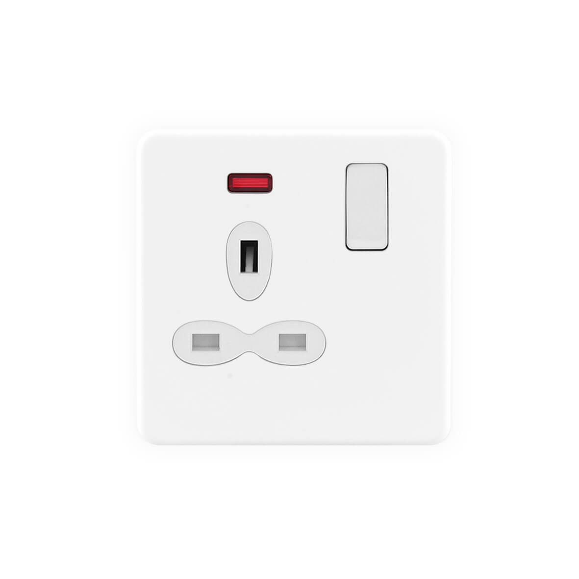 Matt white Screwless 45A 2G Gang DP cooker switch with neon indicator