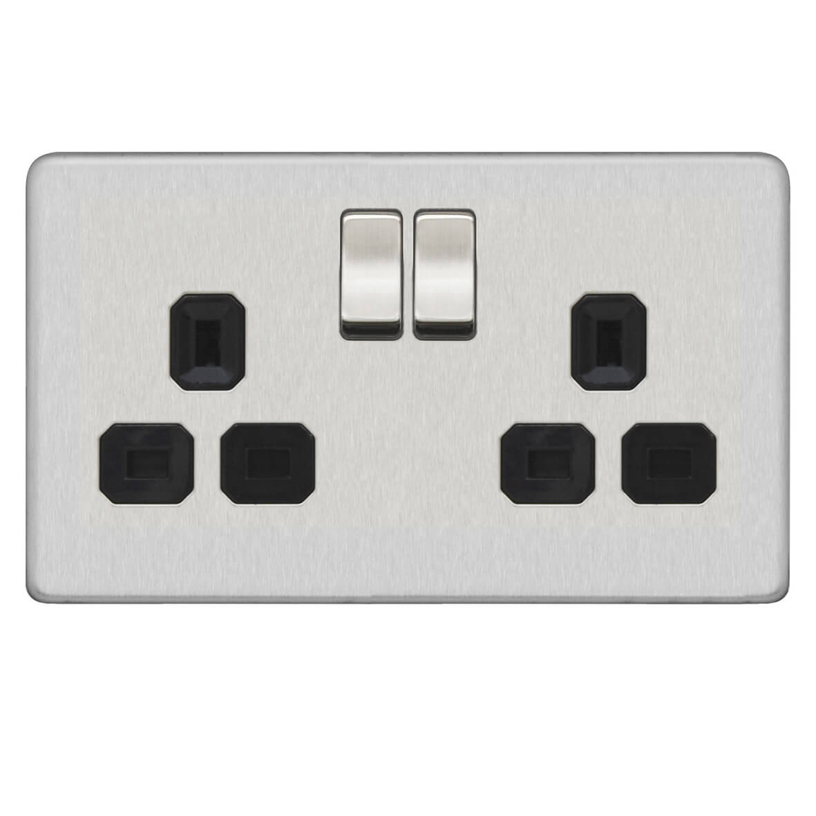 2G Double Schuko Electrical Euro Power Socket Screw Less Plate Antique Brass